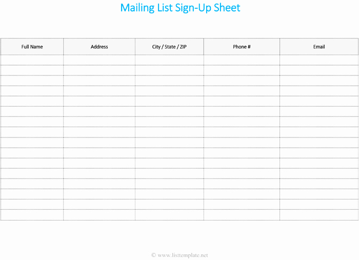 Mailing List Template Microsoft Word Elegant Free Printable Mailing List Template for Word List Templates