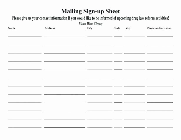 Mailing List Template Microsoft Word Lovely Email Sign Up Template Word Email List Template Word Email