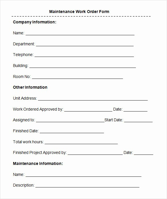 Maintenance Work order Template Excel Awesome 8 Sample Maintenance Work order forms