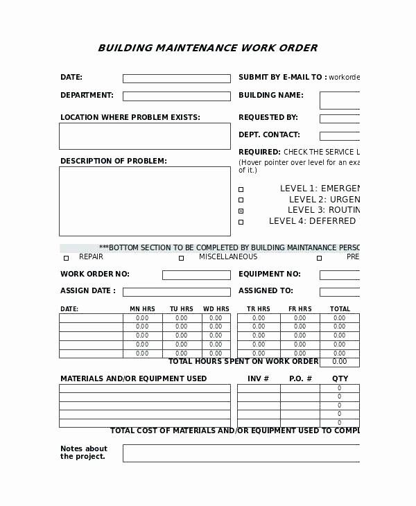 Maintenance Work order Template Excel Awesome Auto Repair order Template Easy Plus Business Automotive