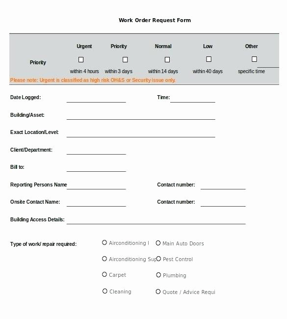 Maintenance Work order Template Excel Beautiful Maintenance Request form Template Gallery Project Request