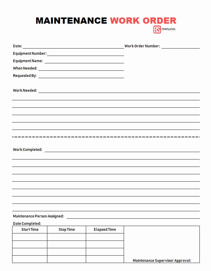 Maintenance Work order Template Excel Beautiful Work order