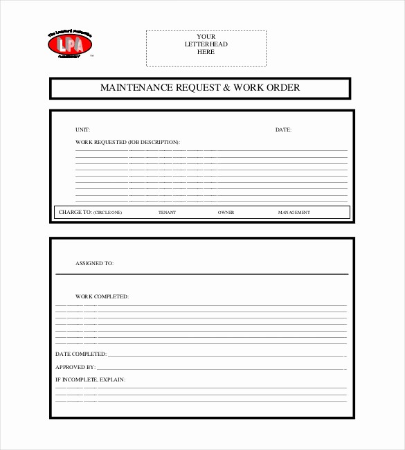 Maintenance Work order Template Excel Elegant 20 order Template Word Excel Pdf