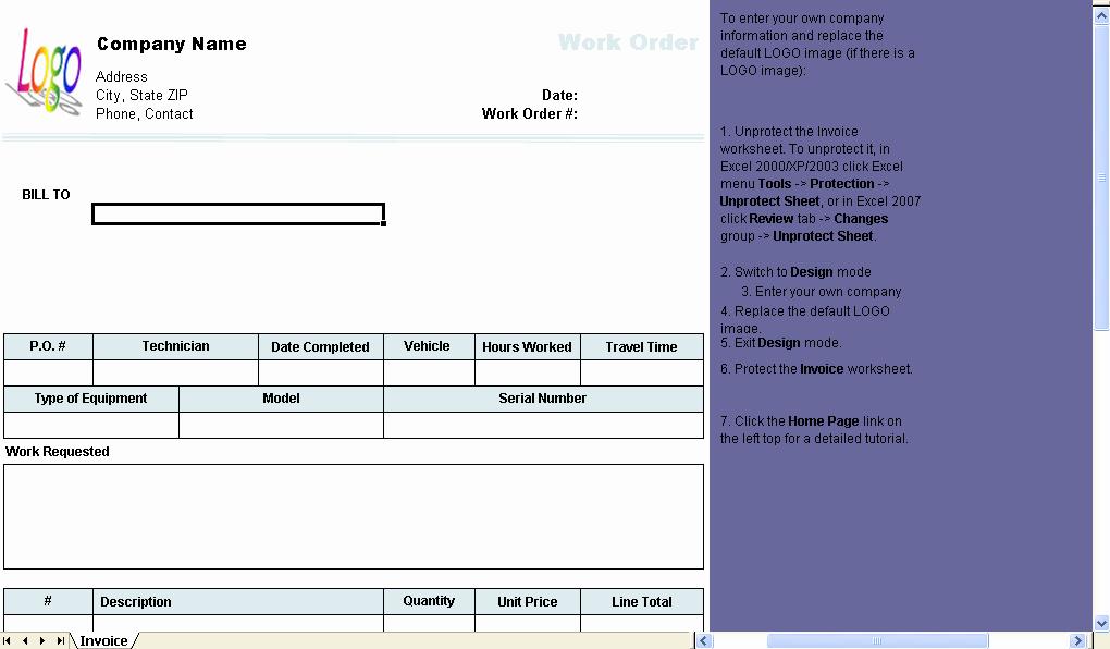 Maintenance Work order Template Excel Elegant Work order Template Uniform Invoice software