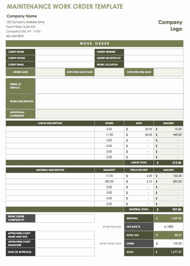 Maintenance Work order Template Excel Fresh 15 Free Work order Templates