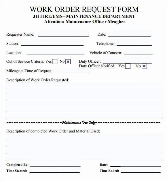 Maintenance Work order Template Excel Lovely 14 Work order Samples – Pdf Word Excel Apple Pages