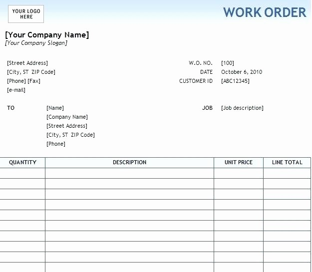 Maintenance Work order Template Excel Lovely Example format Template for events Work order form Excel