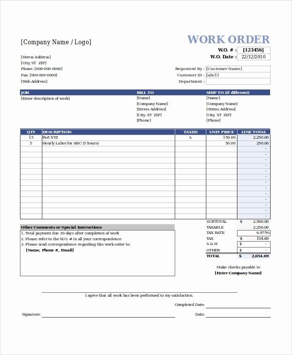 Maintenance Work order Template Excel Unique Excel Work order Template 13 Free Excel Document