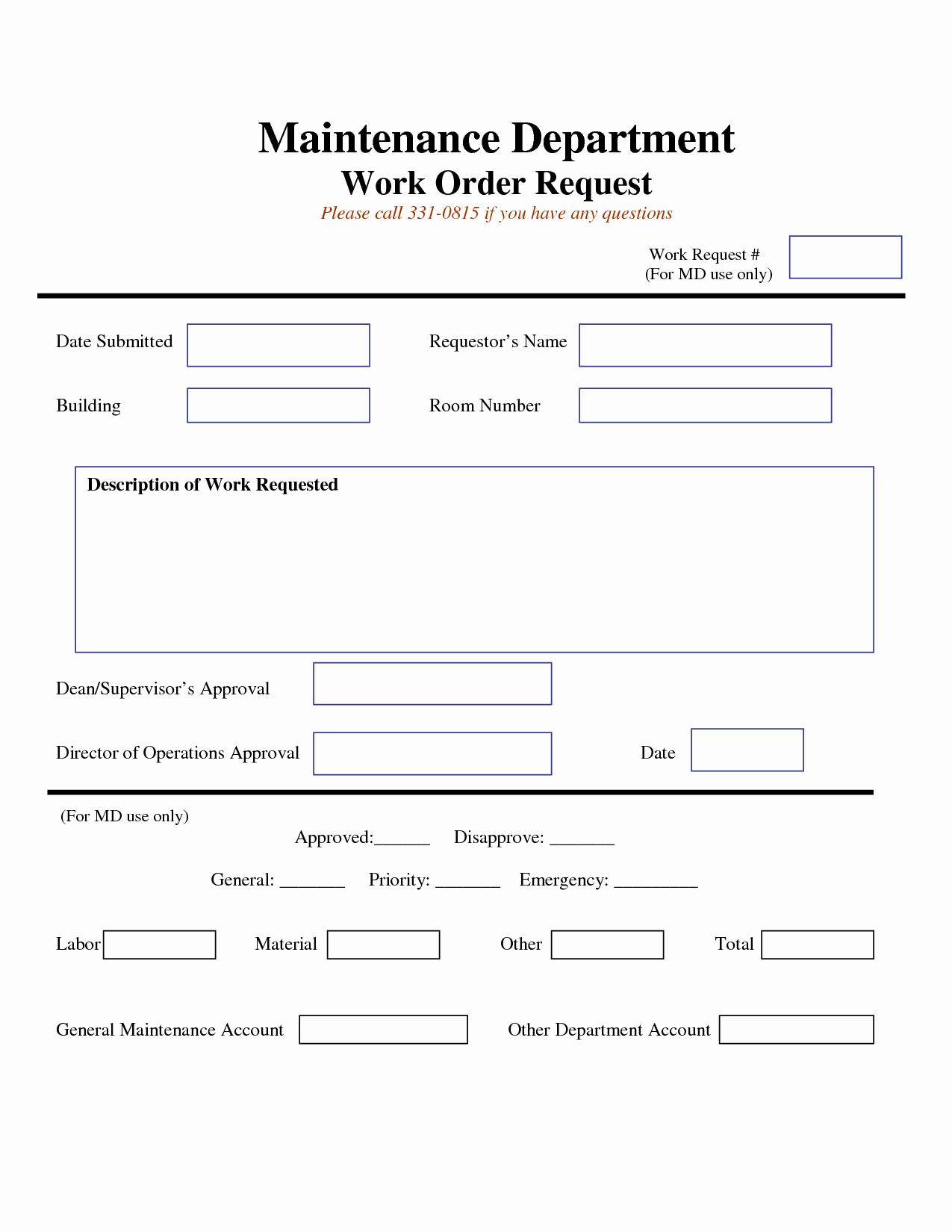 Maintenance Work order Template Excel Unique Work Request form