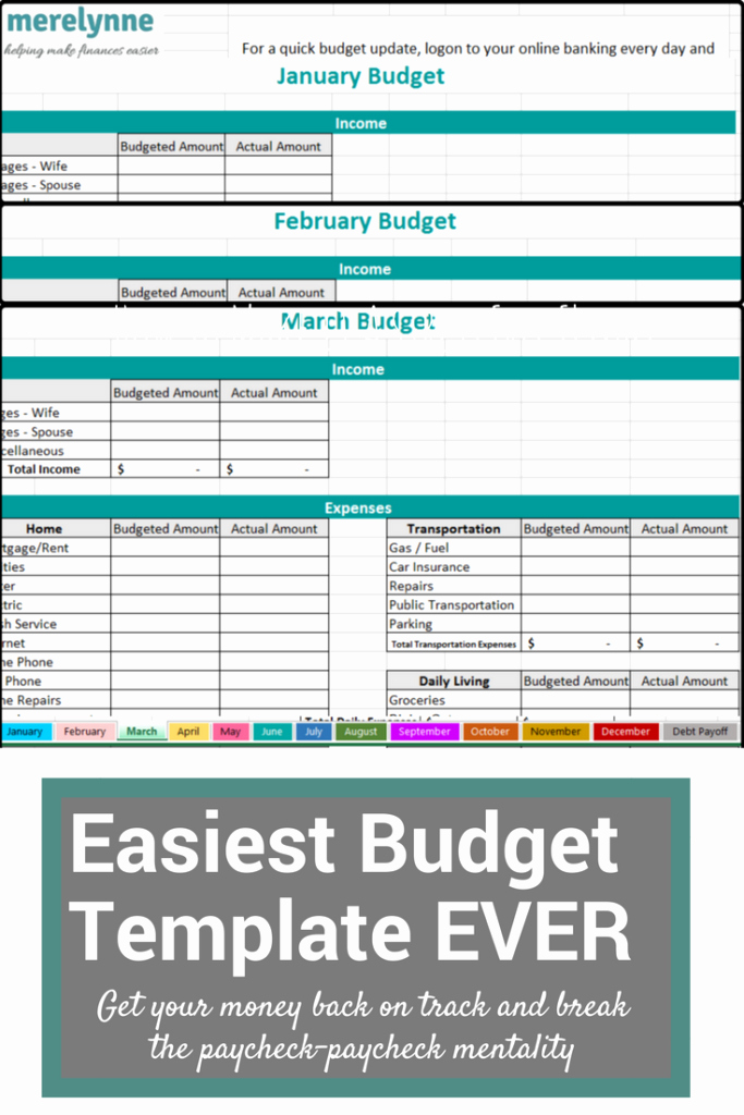 Make A Budget On Excel Lovely the Easiest to Use Bud Template Ever Meredith Rines