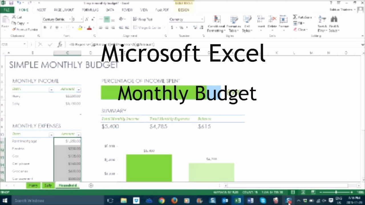 Make A Budget On Excel Luxury How to Make A Monthly Bud In Excel Tutorial