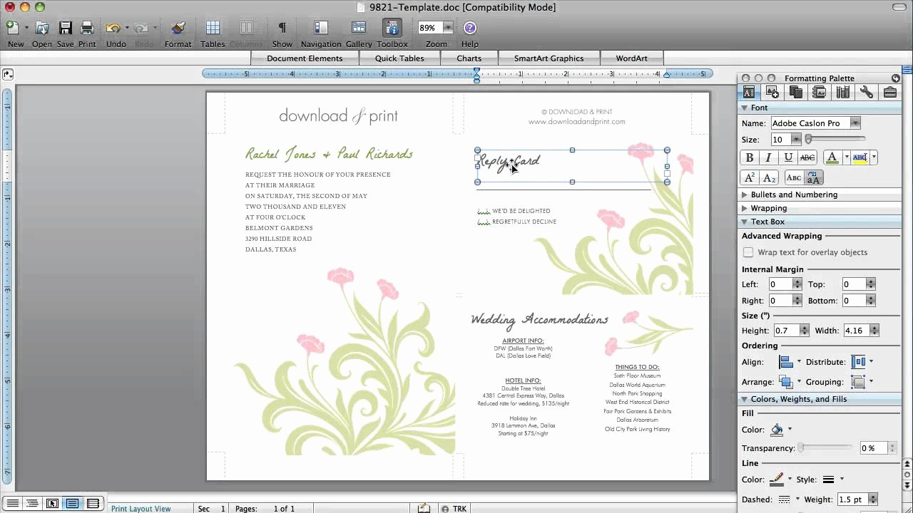 Make A Card In Word Awesome How to Make Wedding Invitations In Microsoft Word