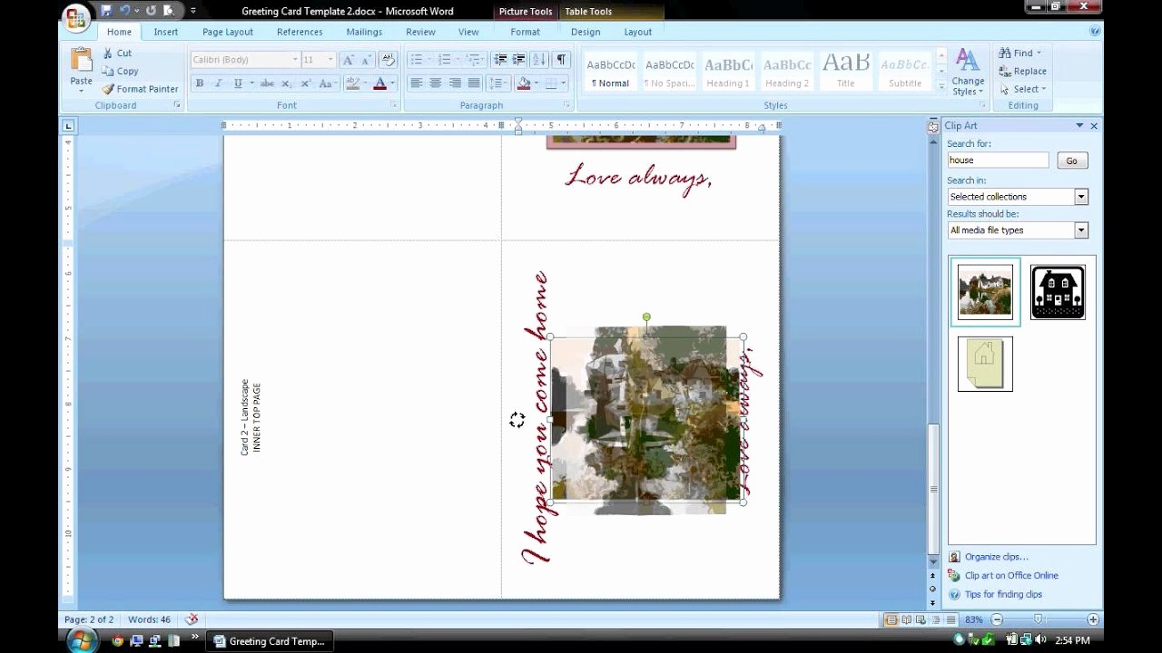 Make A Card In Word Best Of Ms Word Tutorial Part 2 Greeting Card Template