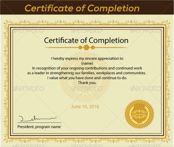 Make A Certificate Of Completion Awesome 26 Sample Certificate Of Pletion Templates