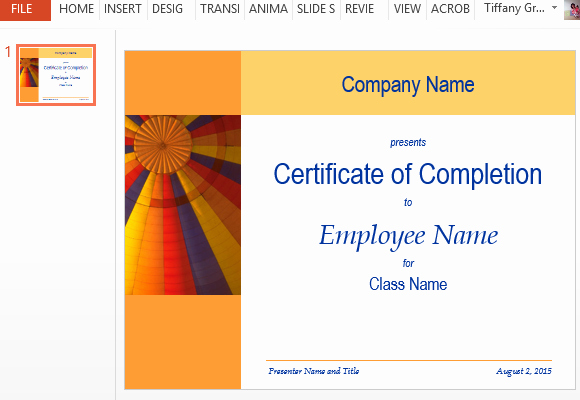 Make A Certificate Of Completion Awesome Certificate for Training Pletion Template for Powerpoint