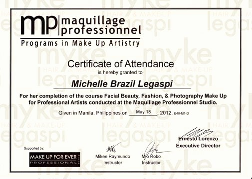 Make A Certificate Of Completion Best Of Hmua Myke Legaspi My Hair & Make Up Artistry Certificates