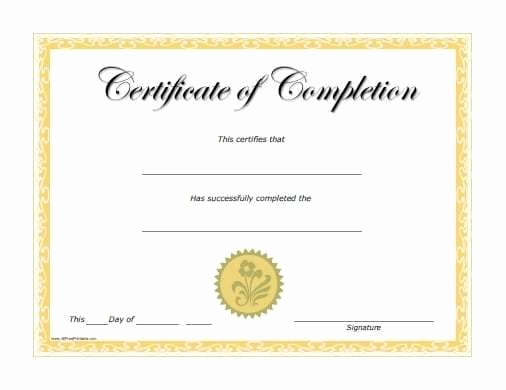 Make A Certificate Of Completion Lovely 10 Certificate Of Pletion Templates Word Excel Pdf