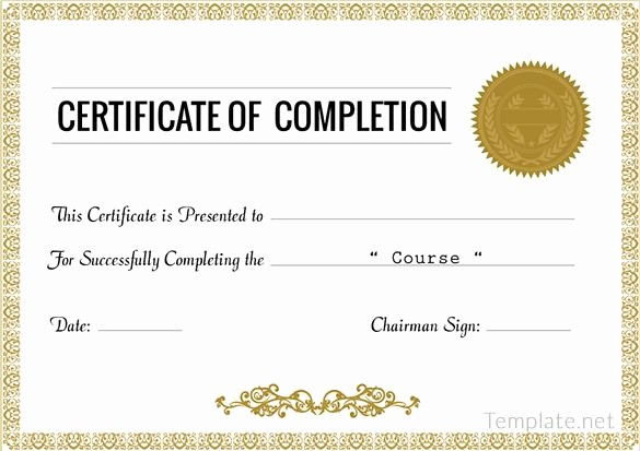 Make A Certificate Of Completion Unique Certificate Of Pletion Award Certificate Template
