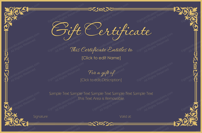 Make A Gift Certificate Free Awesome Royal Velvet Gift Certificate Template Get Certificate