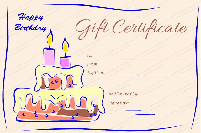 Make A Gift Certificate Free Lovely Candles and Cake Birthday Gift Certificate Template