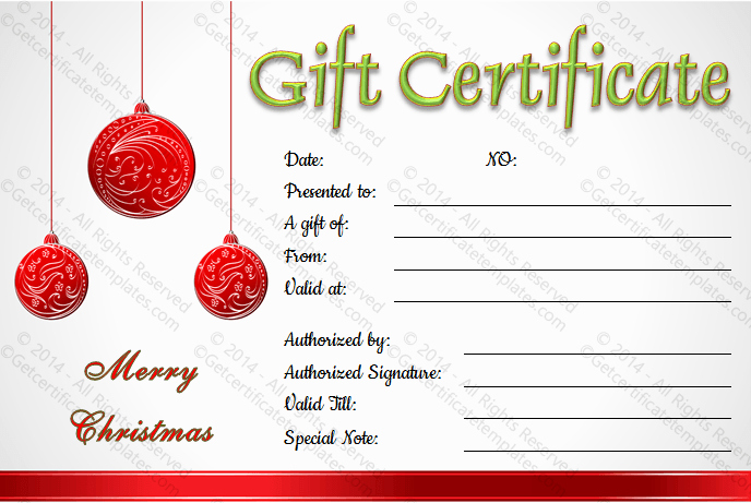Make A Gift Certificate Free New Christmas Balls Gift Certificate Template