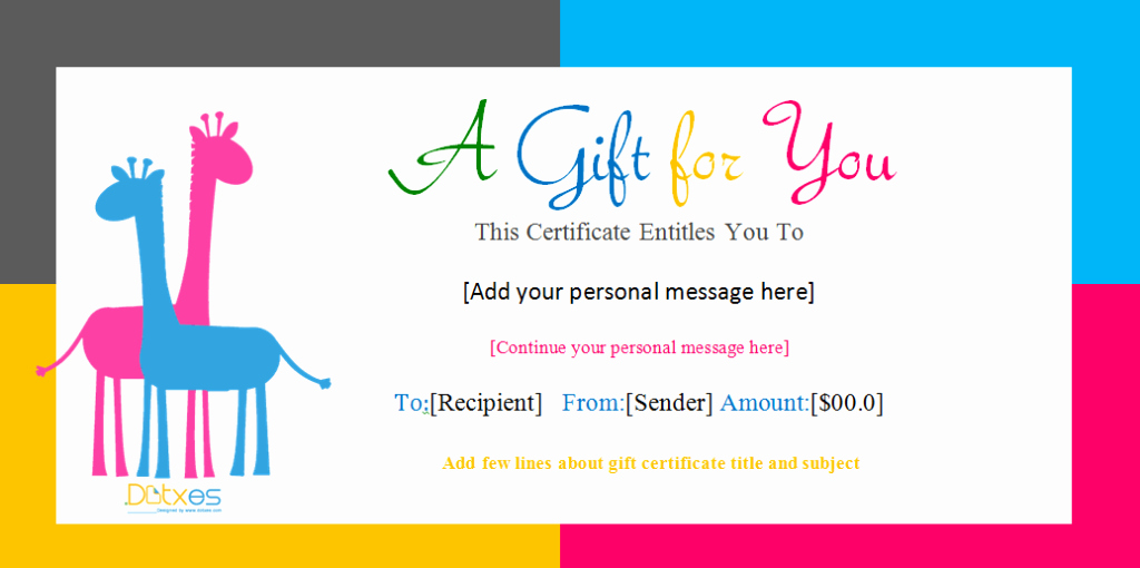 Make A Gift Certificate Free New Gift Certificate Template