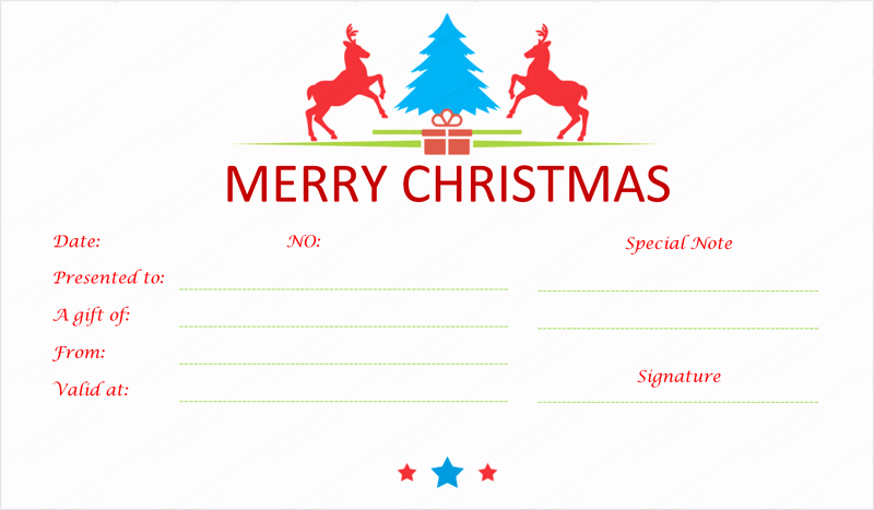 Make A Gift Certificate Free New Prancing Reindeer Christmas Gift Certificate Template
