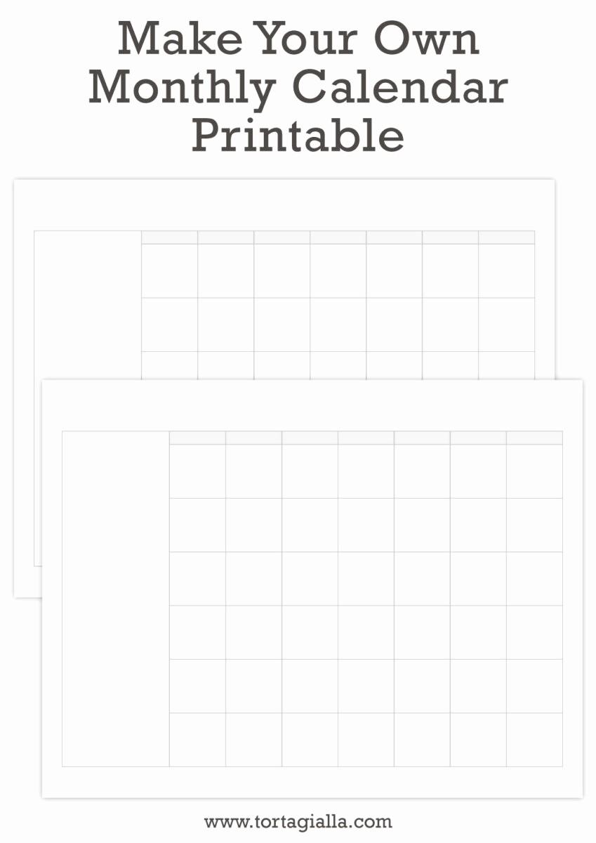 Make A Photo Calendar Free Beautiful Make Your Own Monthly Calendar Printable tortagialla