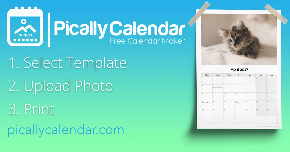 Make A Photo Calendar Free Inspirational Free Calendar Maker 2018 Picallycalendar