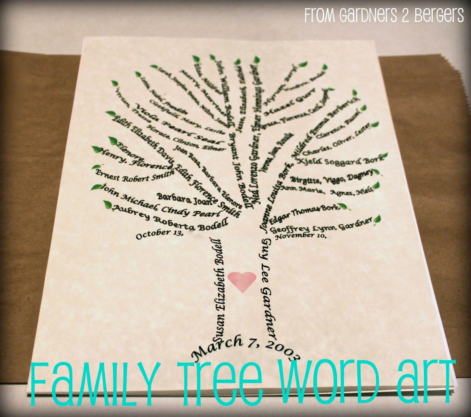Make Family Tree In Word Awesome From Gardners 2 Bergers Family Tree Word Art [tutorial