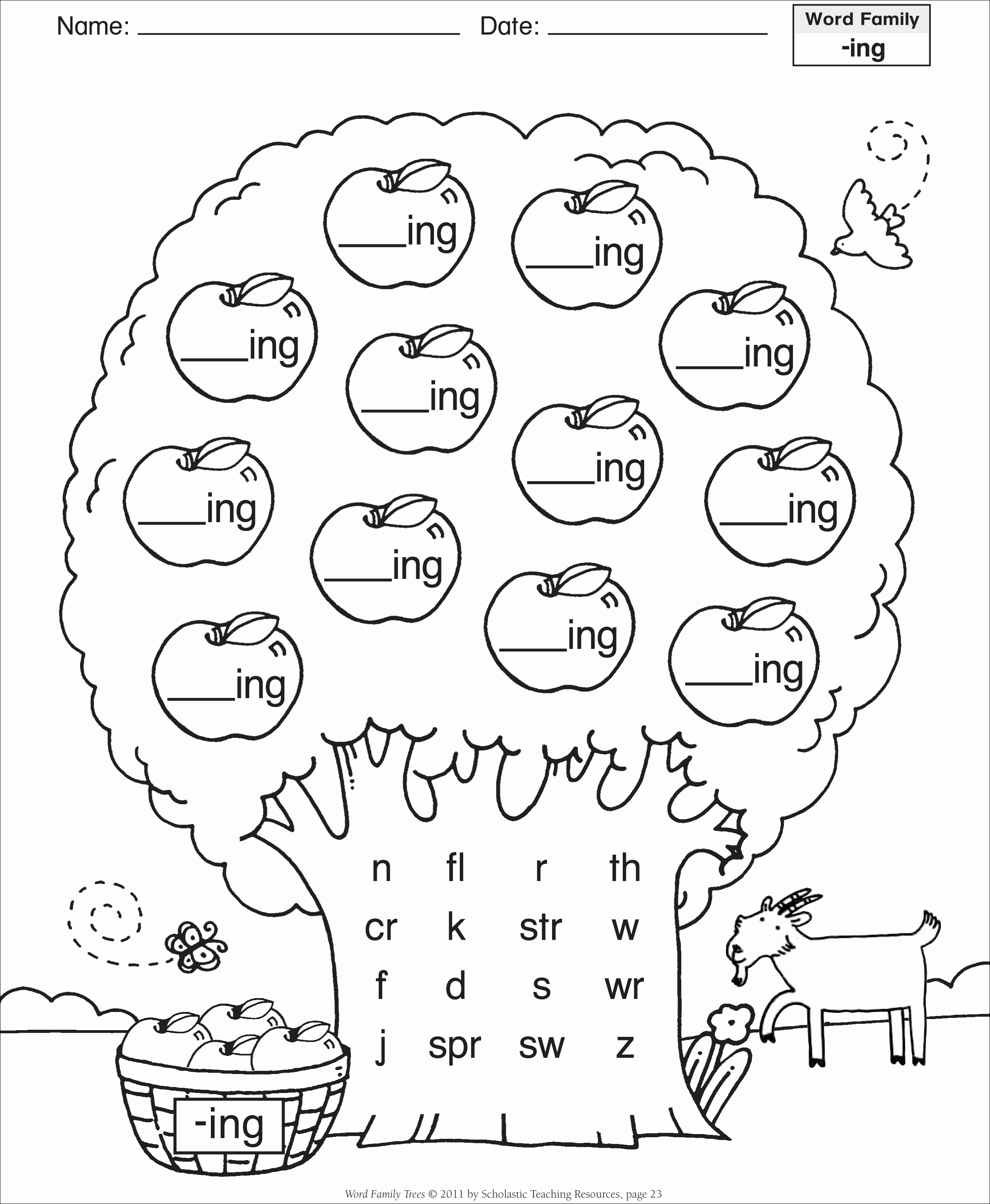 Make Family Tree In Word Beautiful 8 Best Of Ing Word Family Printables Ing Word