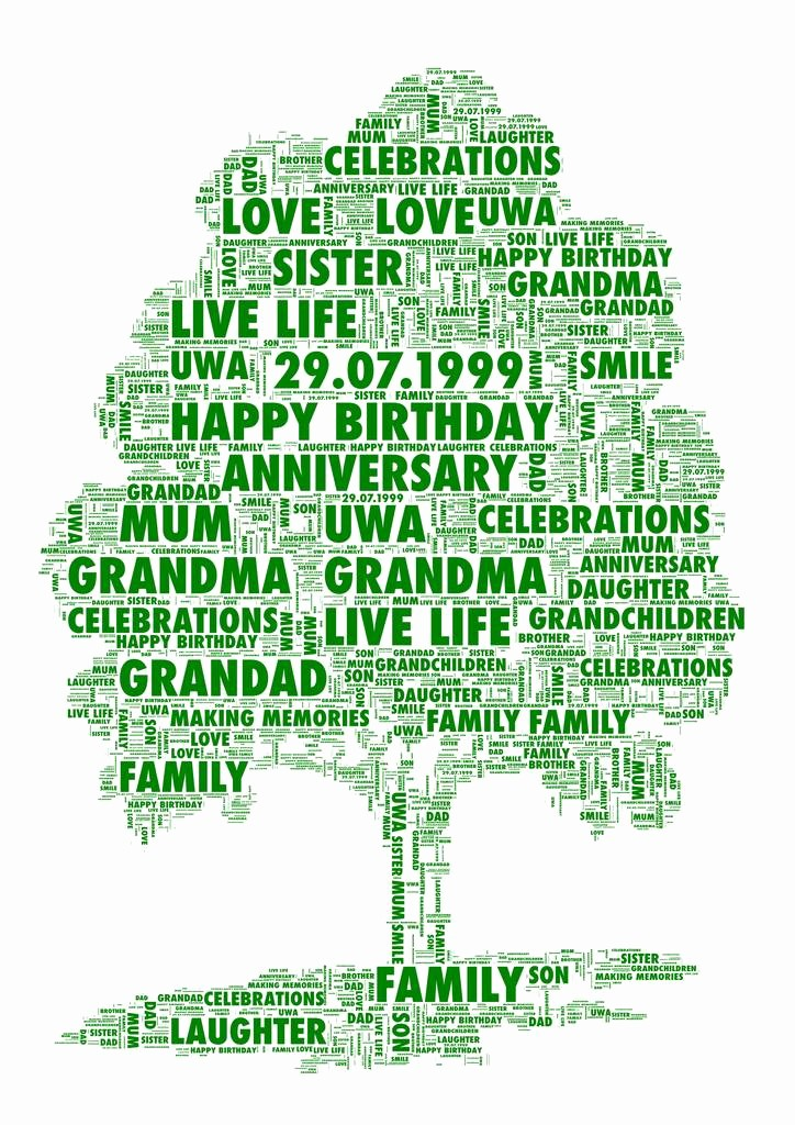 Make Family Tree In Word Elegant Personalised Family Tree Print by Unique Word Art