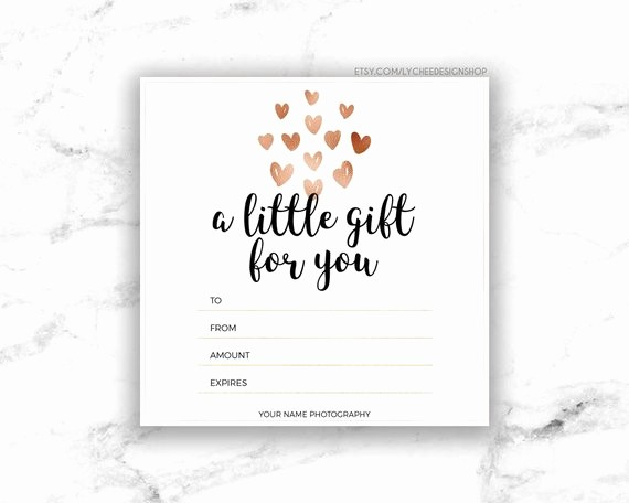 Make Gift Certificate Online Free Luxury Printable Rose Gold Hearts Gift Certificate Template