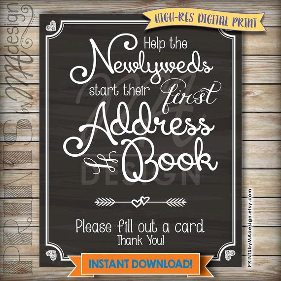 Make Your Own Address Book Inspirational Address Book Wedding Sign ask Guest for their by