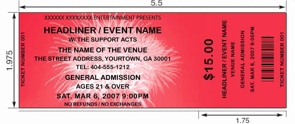 Make Your Own Concert Tickets Luxury Fireworks theme Tickets Design Print and Make Your Own