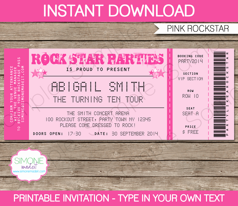 Make Your Own Concert Tickets Luxury Rockstar Birthday Party Ticket Invitations Template