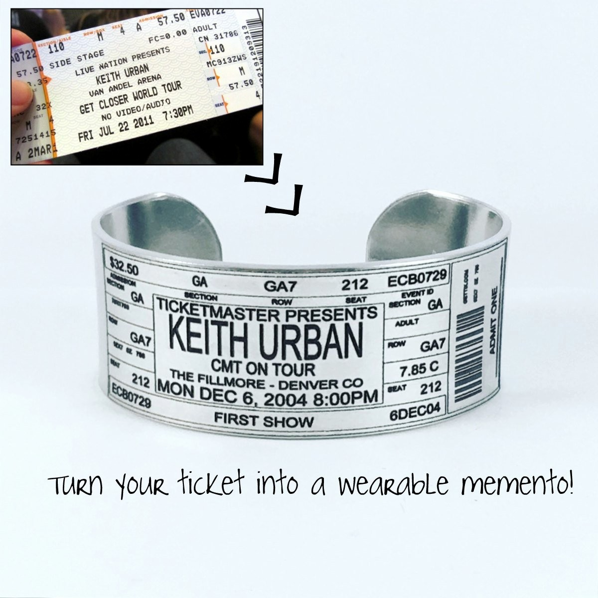 Make Your Own Concert Tickets New Concert Ticket Bracelet Personalized Concert Ticket Bracelet