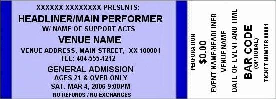 Make Your Own Concert Tickets New Dark Green Standard Horizontal Tickets