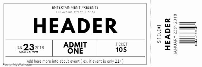 Make Your Own Concert Tickets New Schwarz Und Weiß Kostenlose Konzert event Ticket Vorlage
