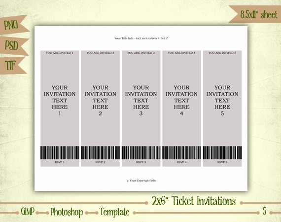 Make Your Own Ticket Template Beautiful Ticket Invitations Digital Collage Sheet Layered Template