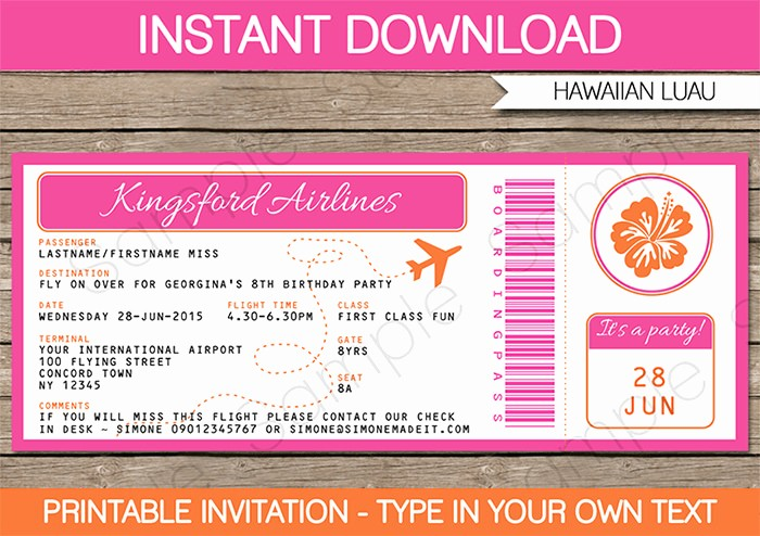 Make Your Own Ticket Template Inspirational Luau Boarding Pass Invitations