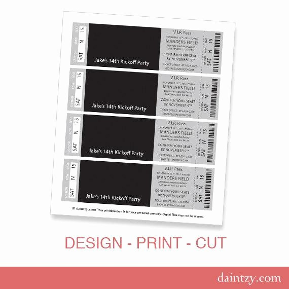 Make Your Own Ticket Template New event Ticket Invitation Template Printable Diy Make