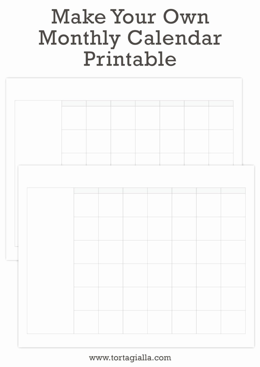 Make Your Own Weekly Calendar Fresh Make Your Own Monthly Calendar Printable tortagialla