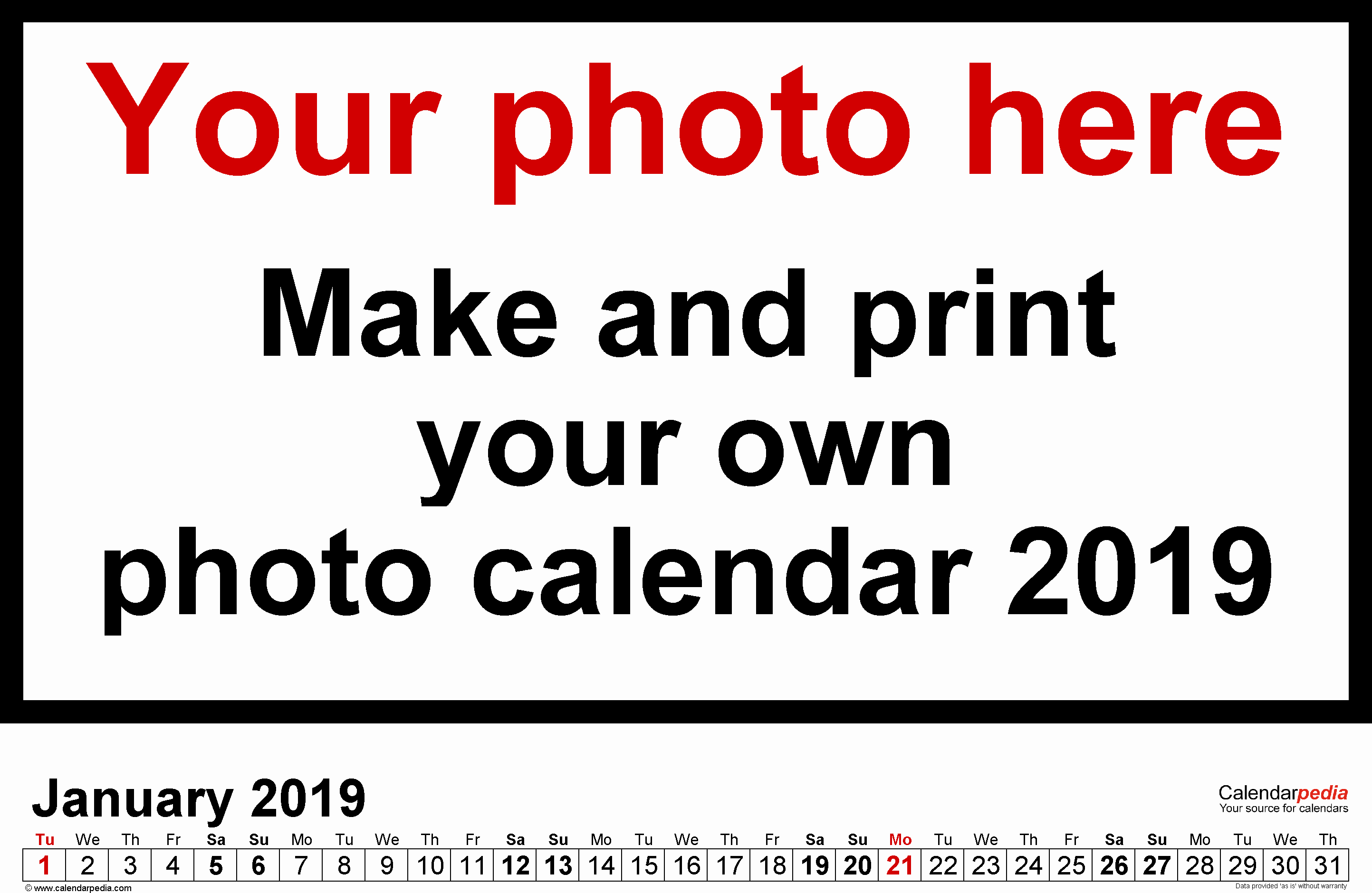 Make Your Own Weekly Calendar Unique Calendar 2019 Free Printable Word Templates