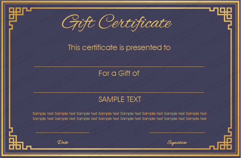 Making Gift Certificates Online Free Awesome Royal Blue Gift Certificate Template Get Certificate