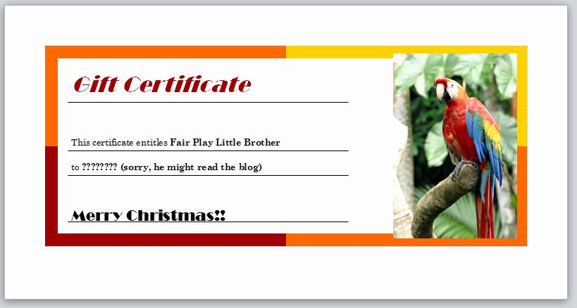 Making Gift Certificates Online Free Inspirational Free Babysitting Certificate Christmas Gift