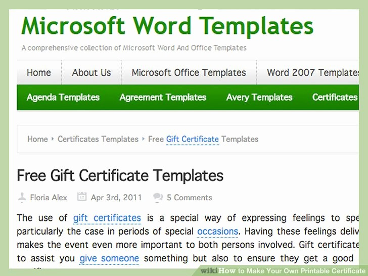 Making Gift Certificates Online Free New 4 Ways to Make Your Own Printable Certificate Wikihow