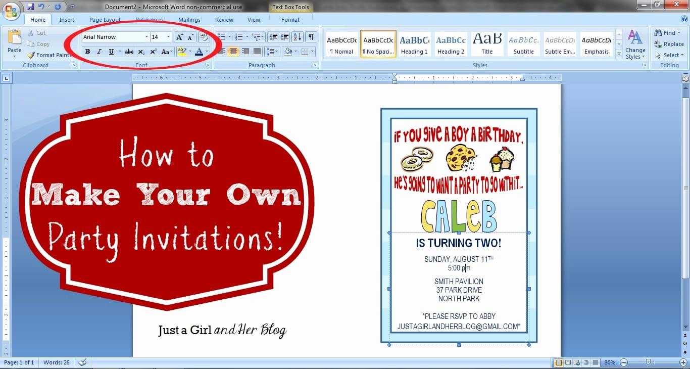 Making Invitations On Microsoft Word Awesome How to Make Your Own Party Invitations Just A Girl and