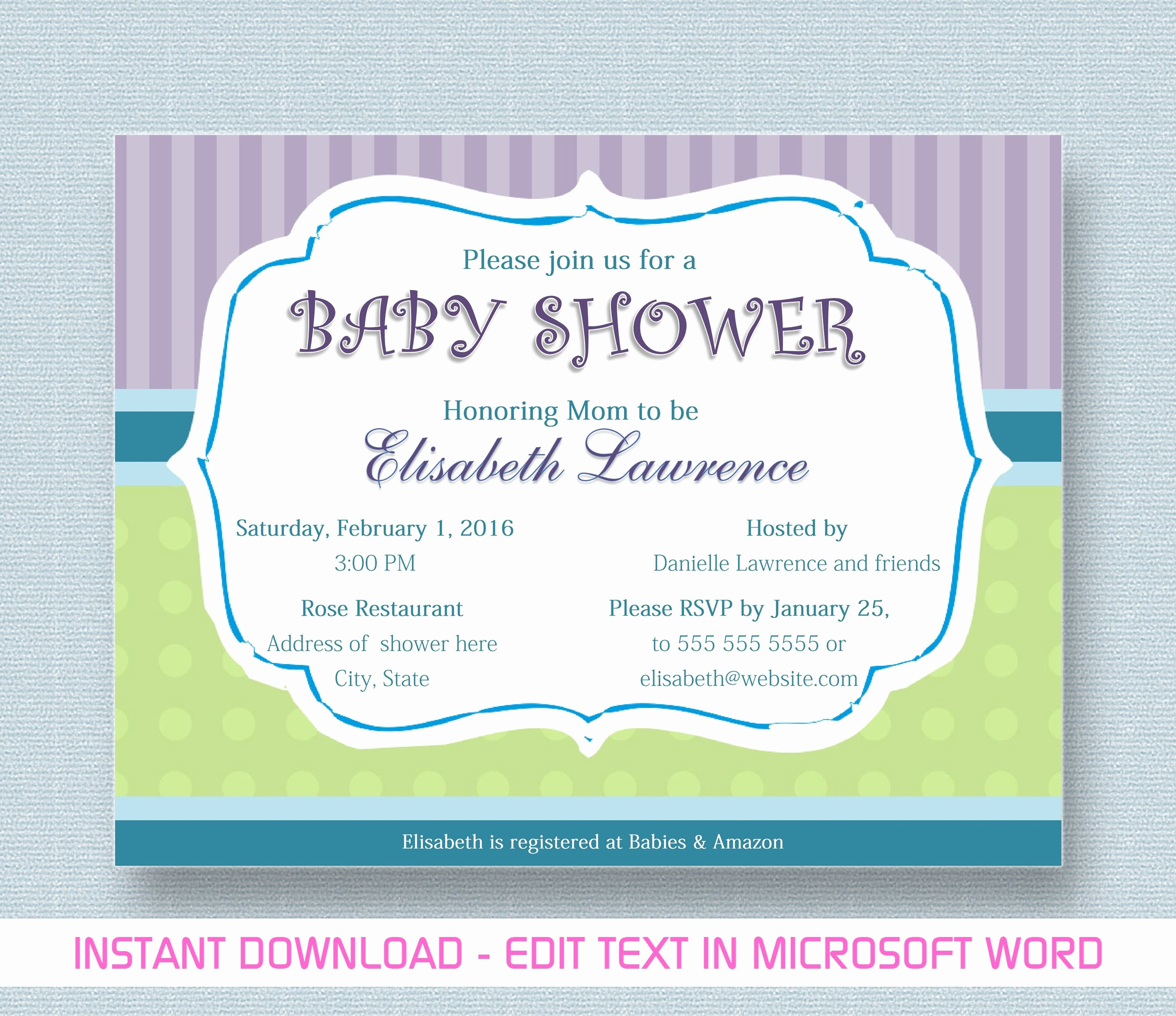 Making Invitations On Microsoft Word Inspirational Baby Shower Invitation for Microsoft Word