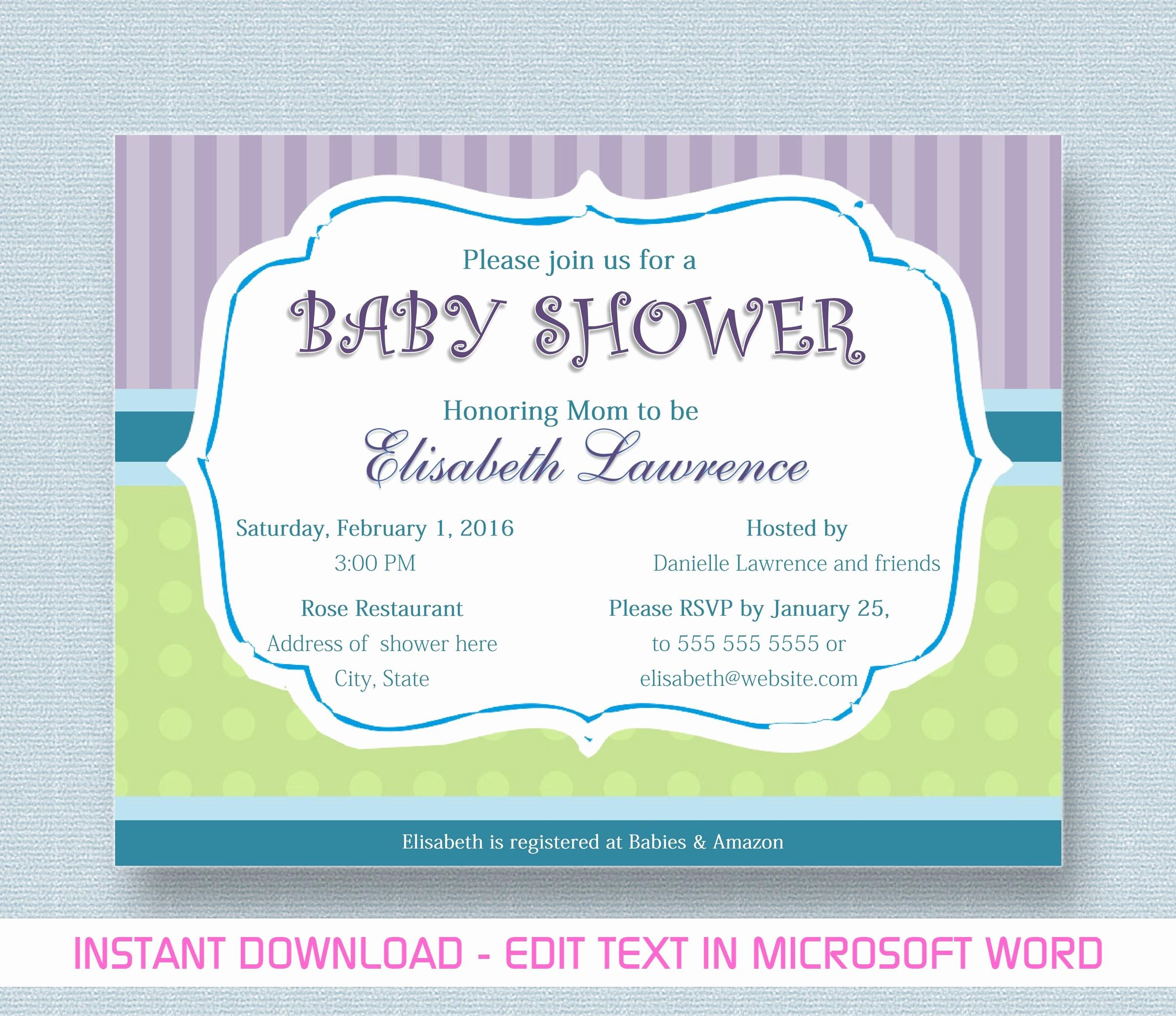 Making Invitations On Microsoft Word Inspirational Baby Shower Invitation for Microsoft Word